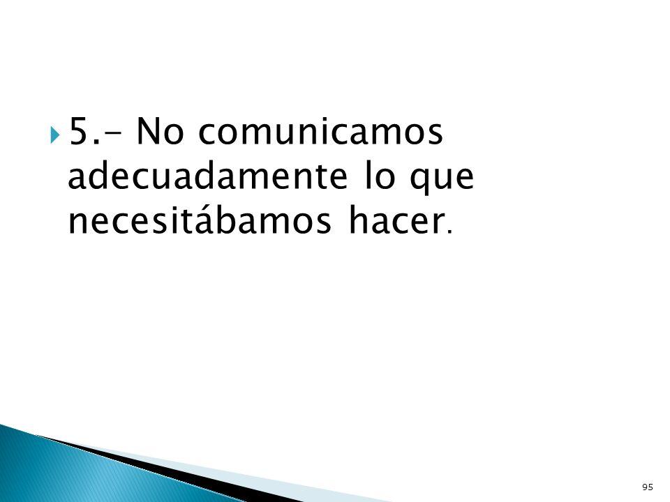 5.- No comunicamos adecuadamente lo que necesitábamos hacer.
