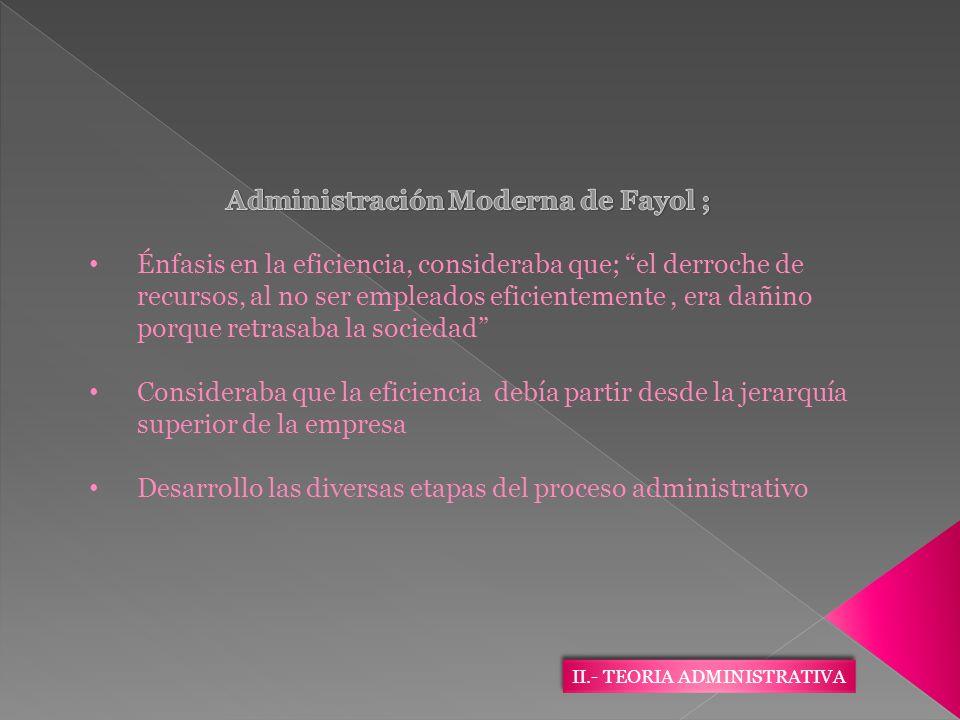 Administración Moderna de Fayol ;