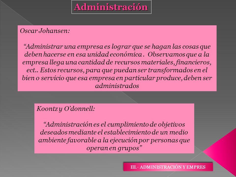 III.- ADMINISTRACIÓN Y EMPRES