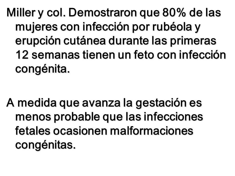 Miller y col. Demostraron que 80% de las mujeres con infección por rubéola y erupción cutánea durante las primeras 12 semanas tienen un feto con infección congénita.