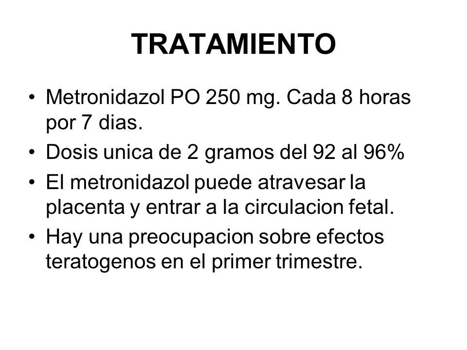 TRATAMIENTO Metronidazol PO 250 mg. Cada 8 horas por 7 dias.