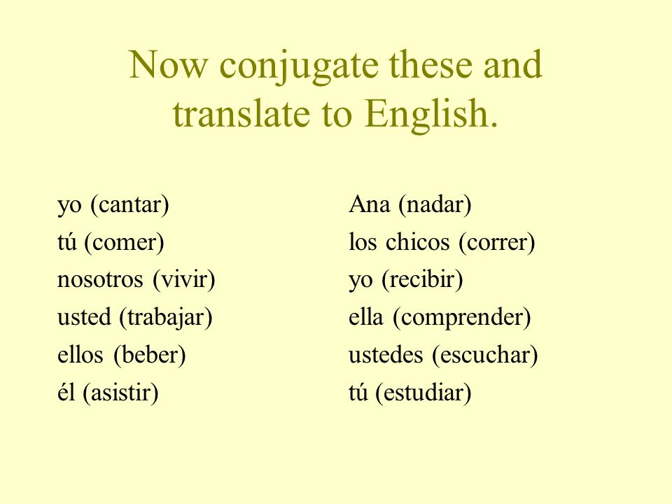 Now conjugate these and translate to English.
