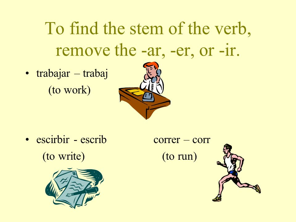 To find the stem of the verb, remove the -ar, -er, or -ir.