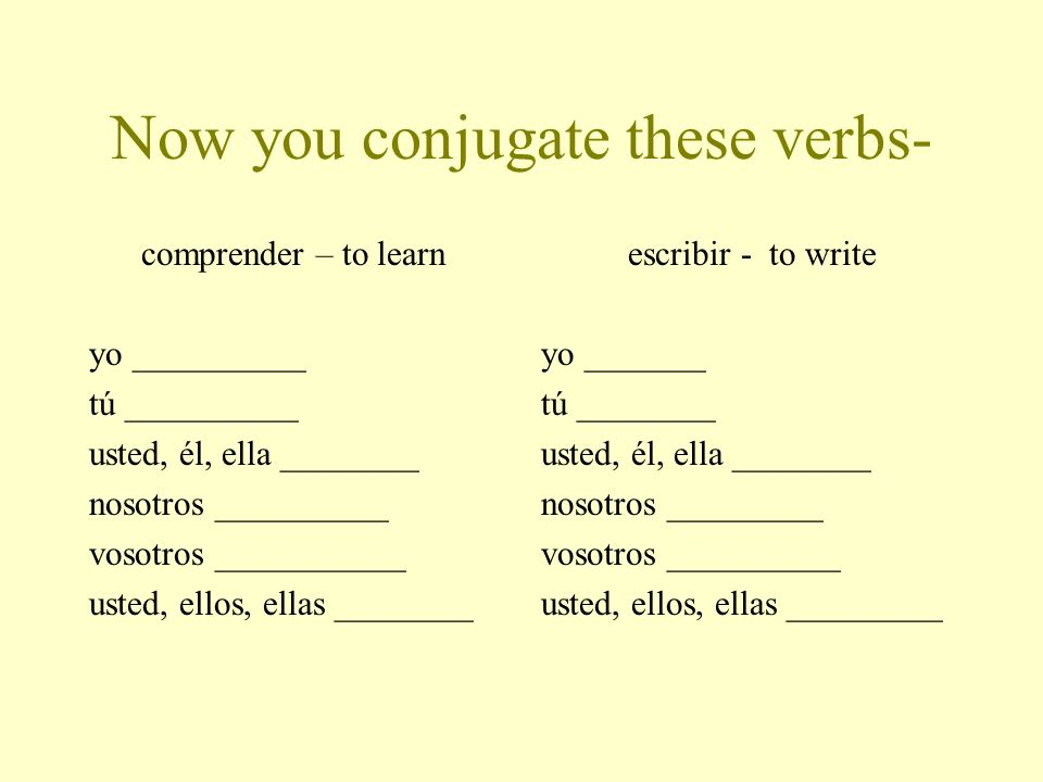Now you conjugate these verbs-