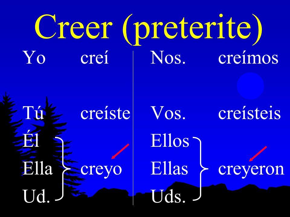 Creer (preterite) Yo creí Tú creíste Él Ella creyo Ud. Nos. creímos