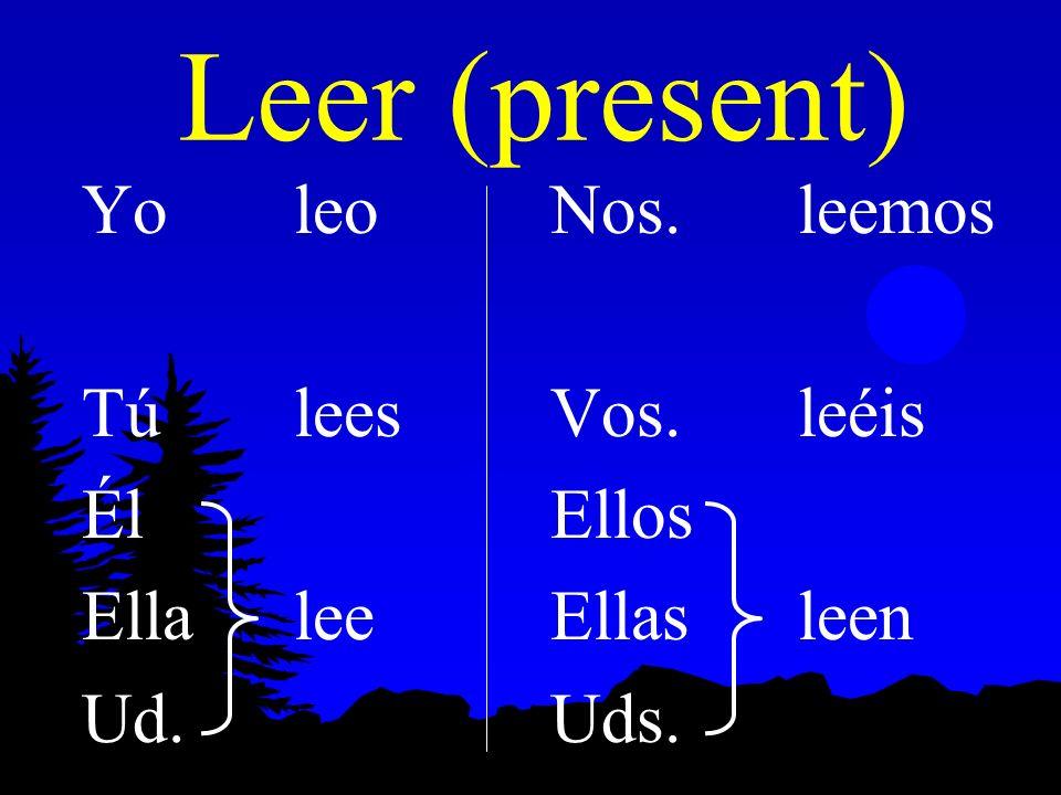 Leer (present) Yo leo Tú lees Él Ella lee Ud. Nos. leemos Vos. leéis