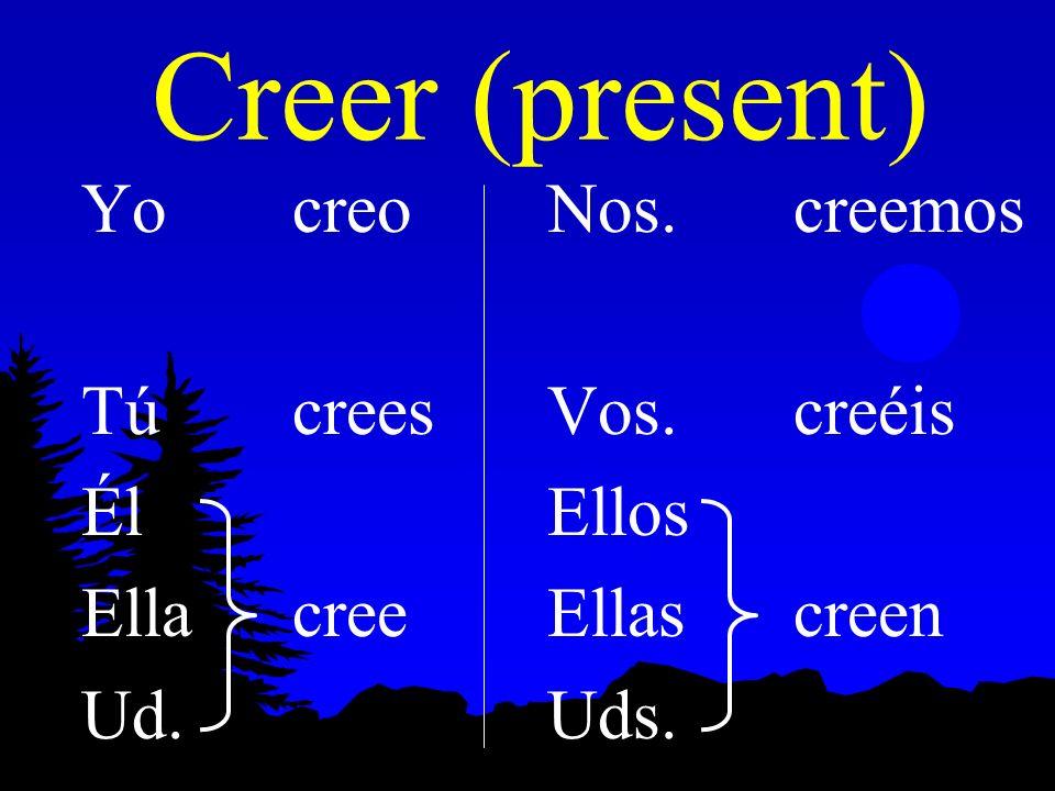 Creer (present) Yo creo Tú crees Él Ella cree Ud. Nos. creemos