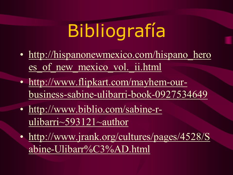 Bibliografía http://hispanonewmexico.com/hispano_heroes_of_new_mexico_vol._ii.html.