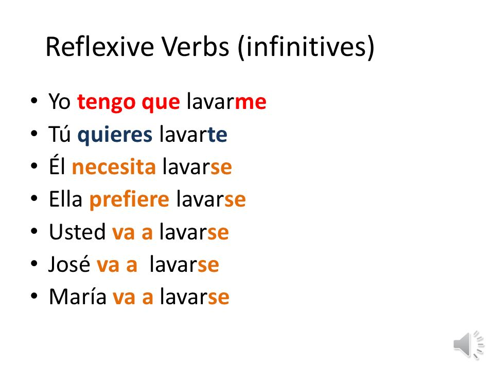Reflexive Verbs (infinitives)