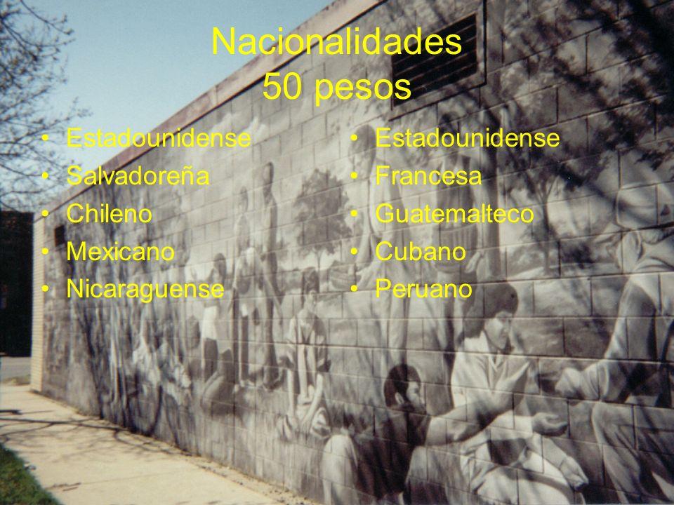 Nacionalidades 50 pesos Estadounidense Salvadoreña Chileno Mexicano