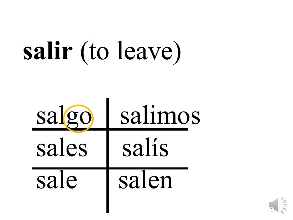 salir (to leave) salgo salimos sales salís sale salen