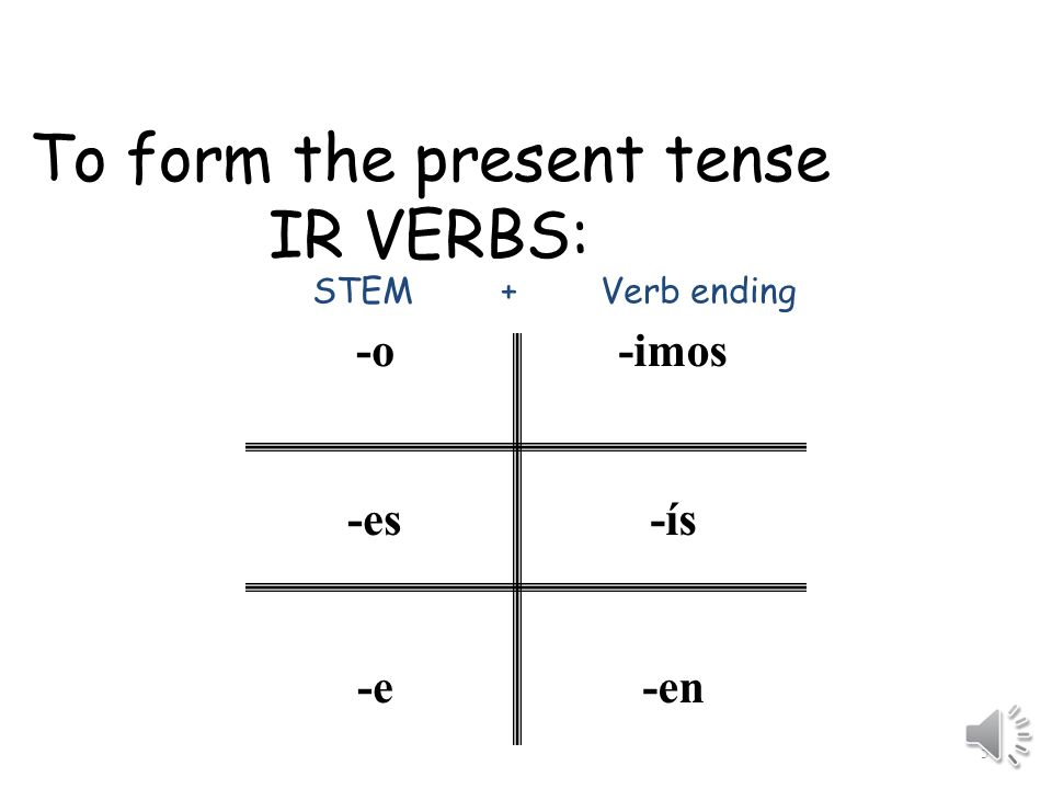 To form the present tense IR VERBS: