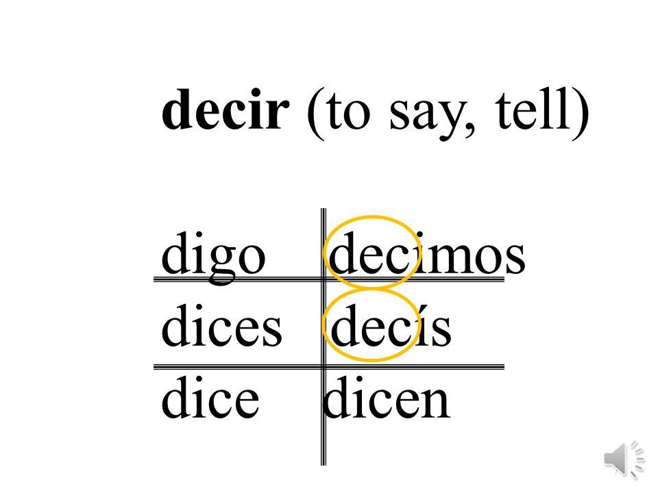 decir (to say, tell) digo decimos dices decís dice dicen