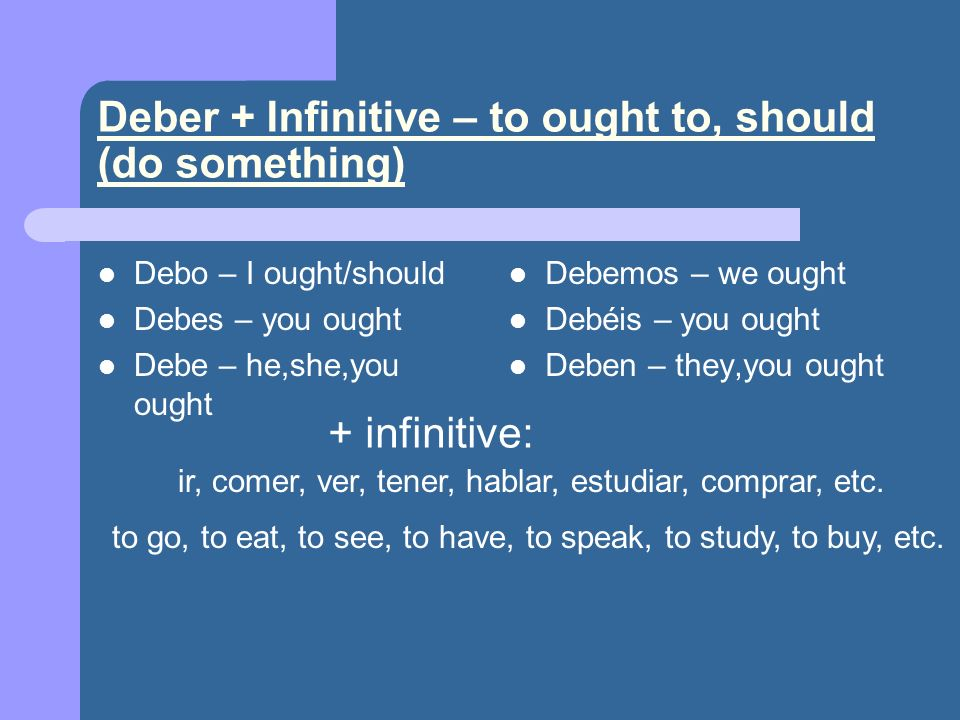 Deber + Infinitive – to ought to, should (do something)