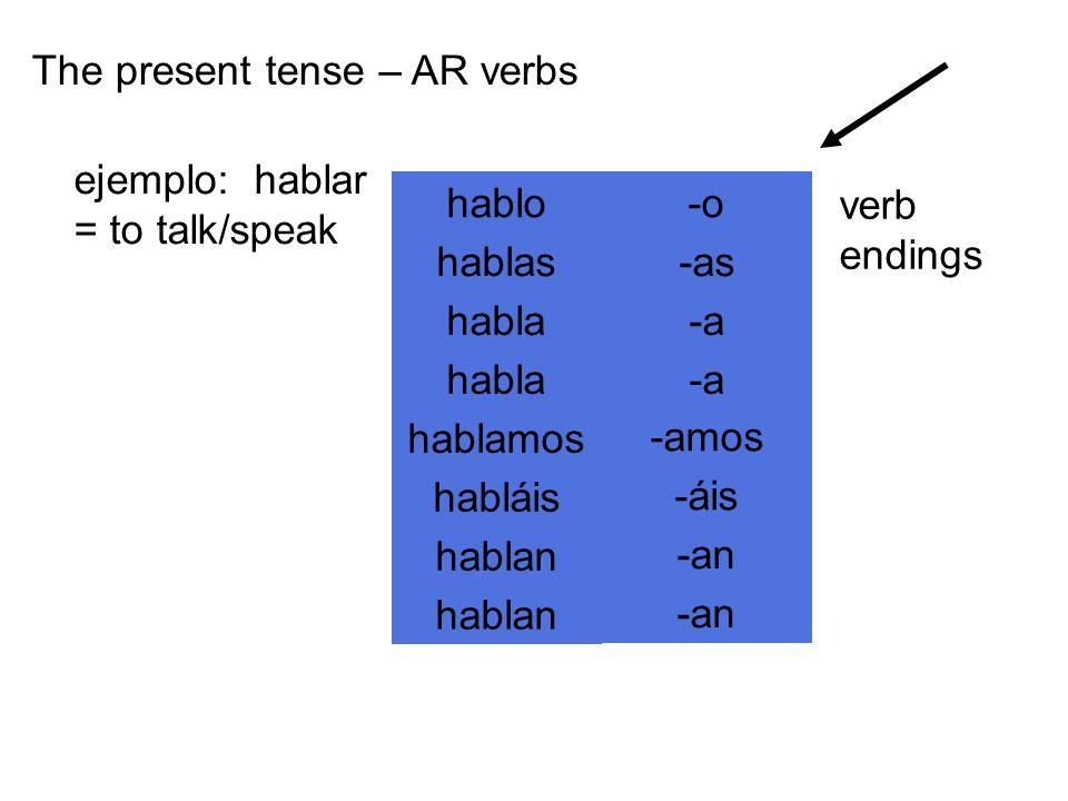 The present tense – AR verbs