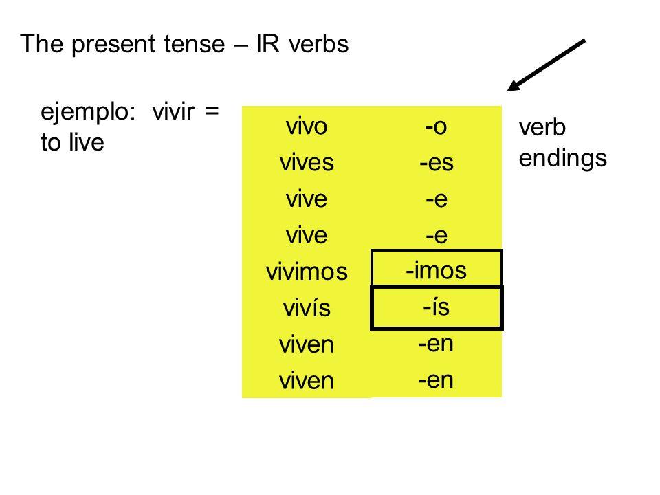 The present tense – IR verbs