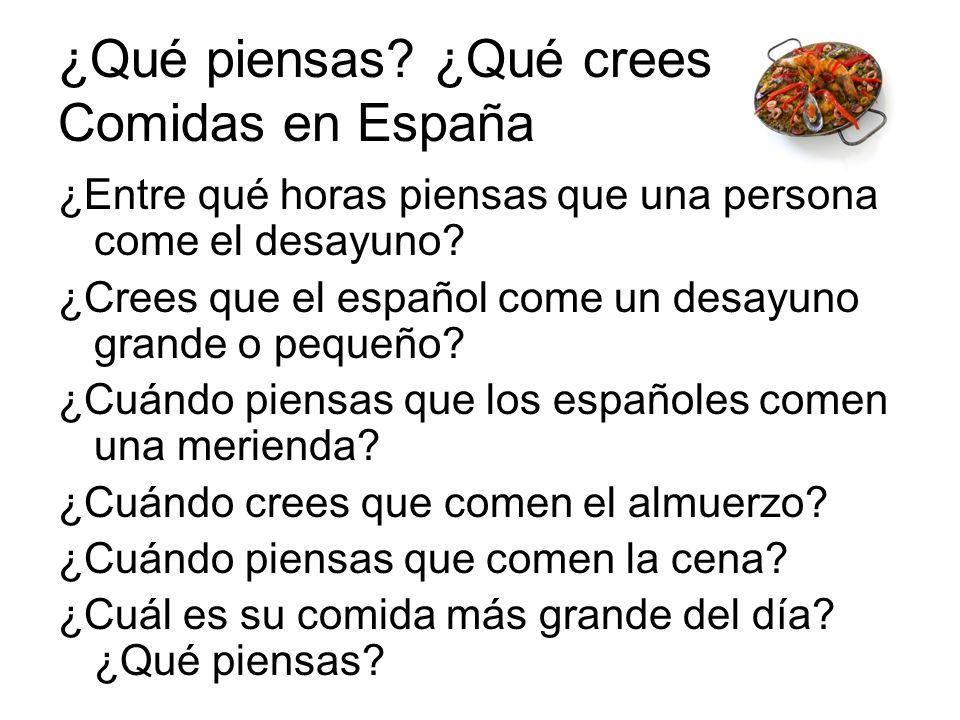¿Qué piensas ¿Qué crees Comidas en España