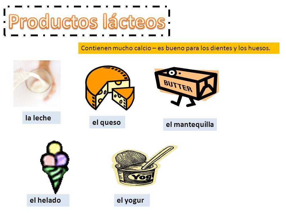 Productos lácteos la leche el queso el mantequilla el helado el yogur