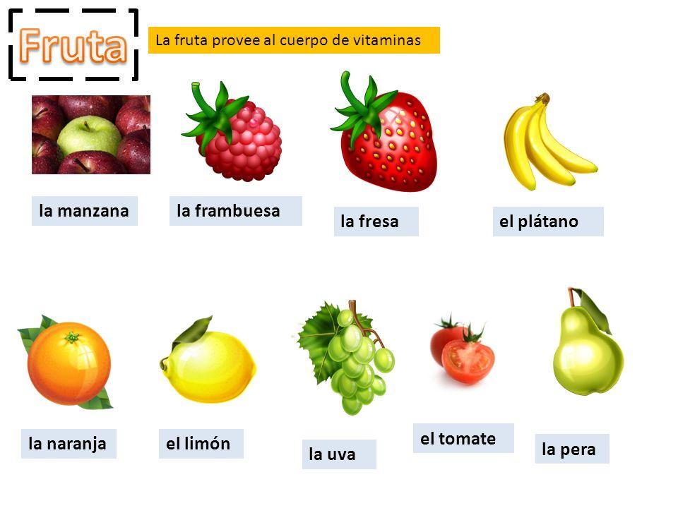 Fruta la manzana la frambuesa la fresa el plátano el tomate la naranja