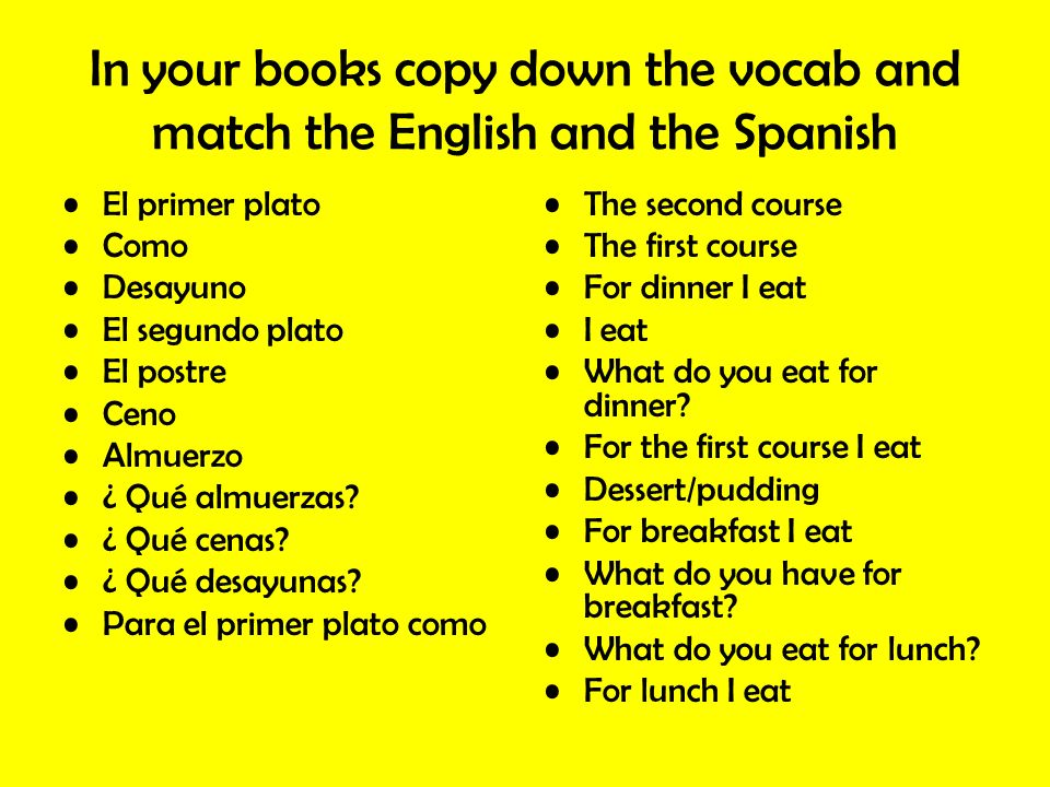 In your books copy down the vocab and match the English and the Spanish