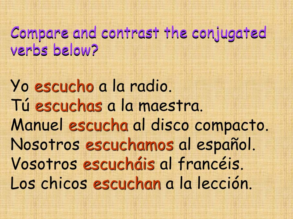 Compare and contrast the conjugated verbs below