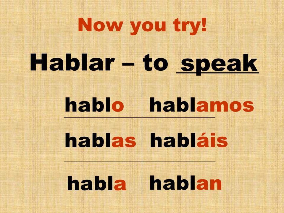 Hablar – to _______ speak hablo hablamos hablas habláis habla hablan