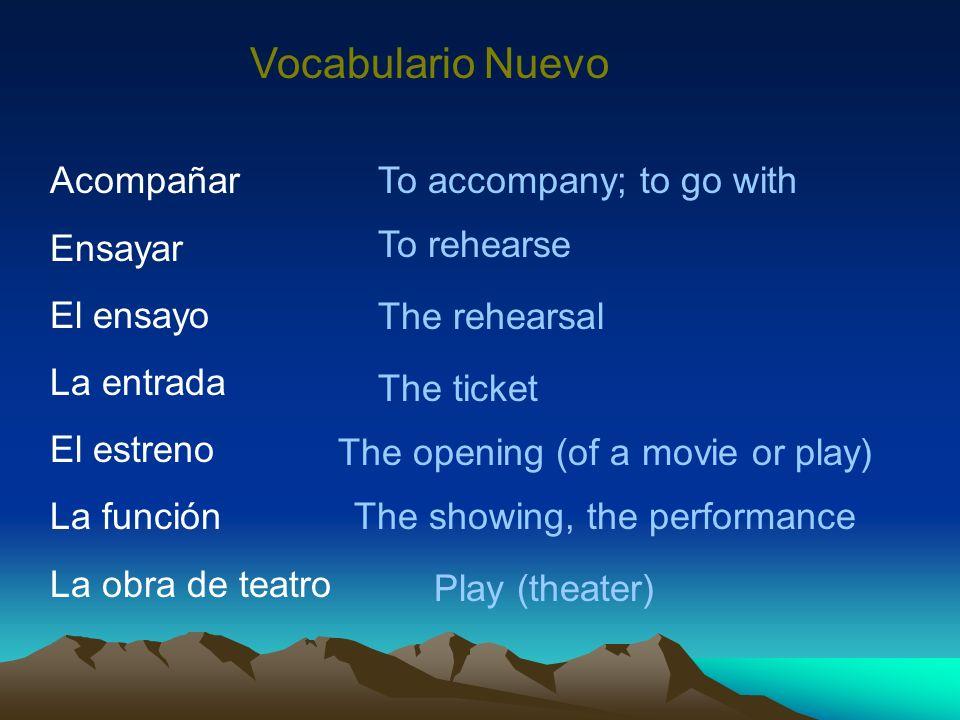 Vocabulario Nuevo Acompañar Ensayar El ensayo La entrada El estreno