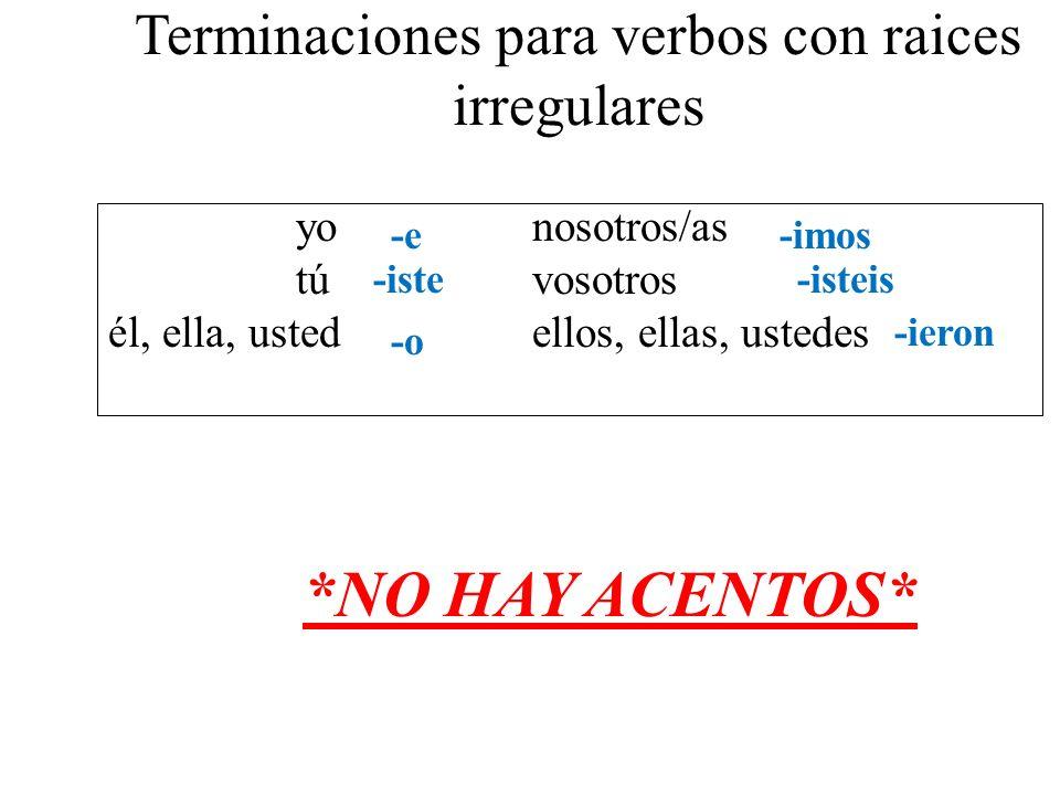 Terminaciones para verbos con raices irregulares