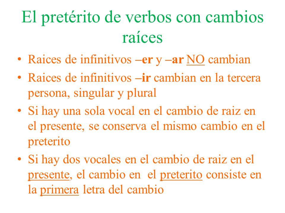 El pretérito de verbos con cambios raíces