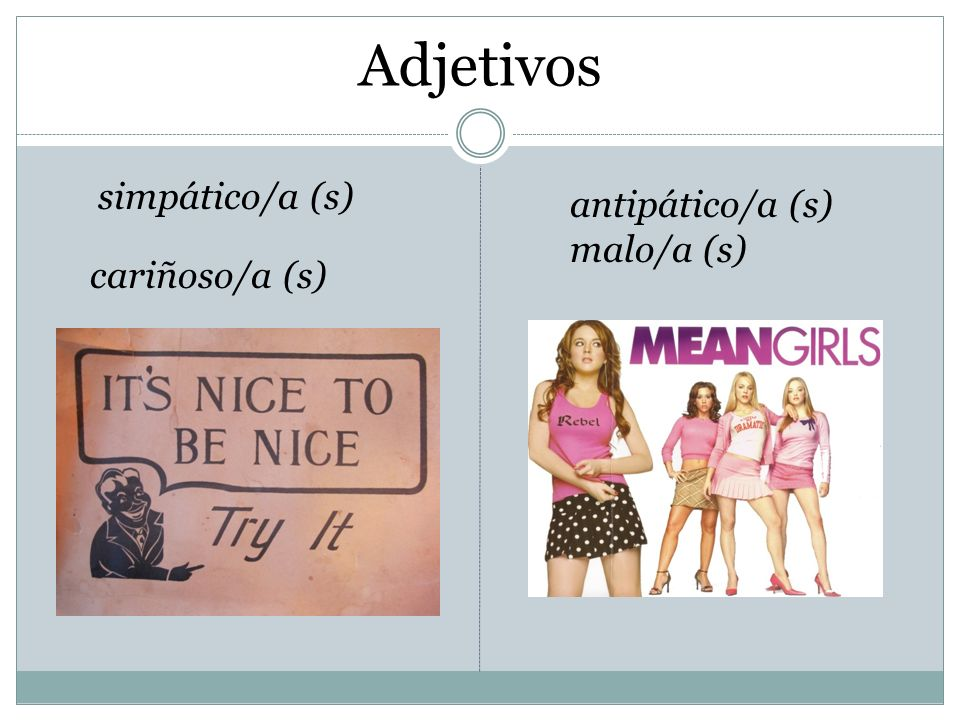 Adjetivos simpático/a (s) antipático/a (s) malo/a (s) cariñoso/a (s)