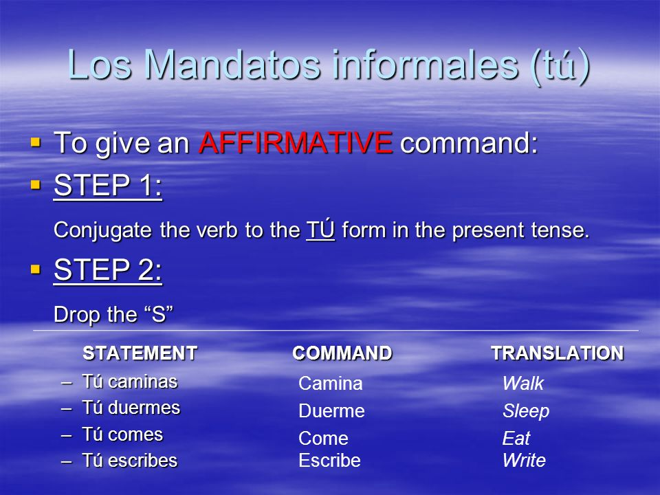 Los Mandatos informales (tú)