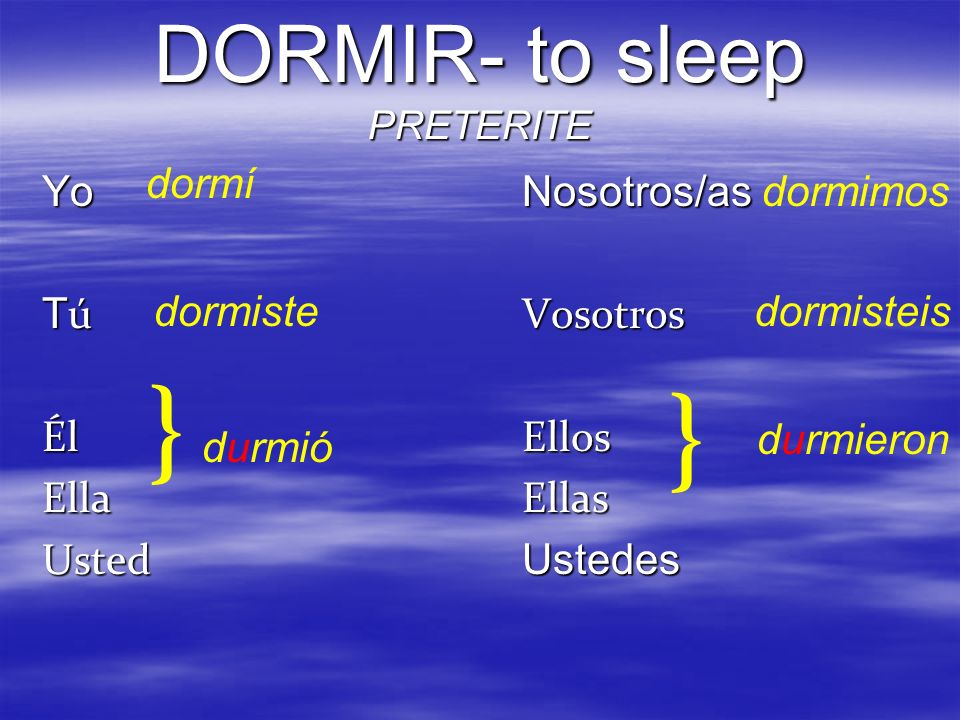 DORMIR- to sleep PRETERITE