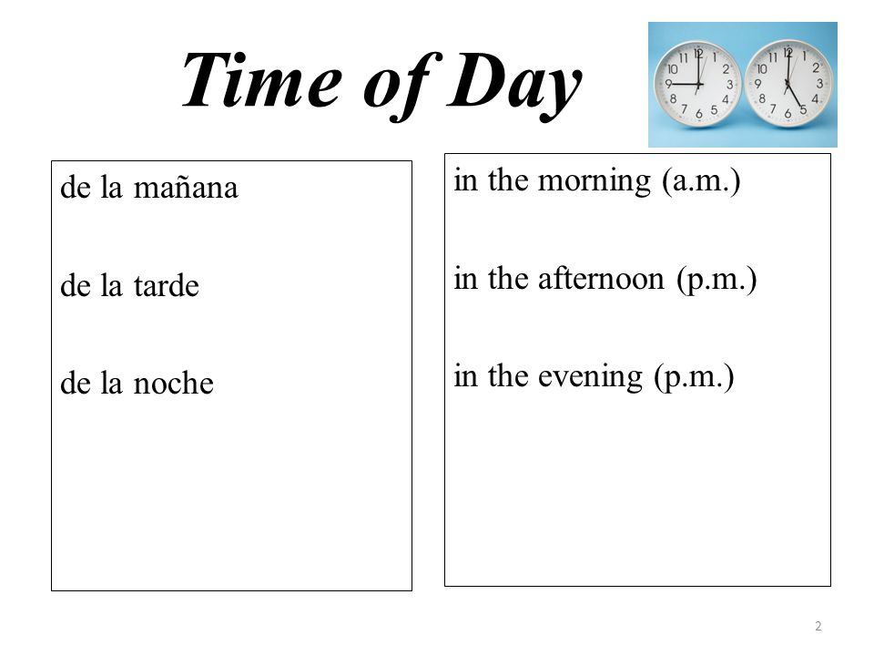 Time of Day in the morning (a.m.) in the afternoon (p.m.) in the evening (p.m.) de la mañana de la tarde de la noche