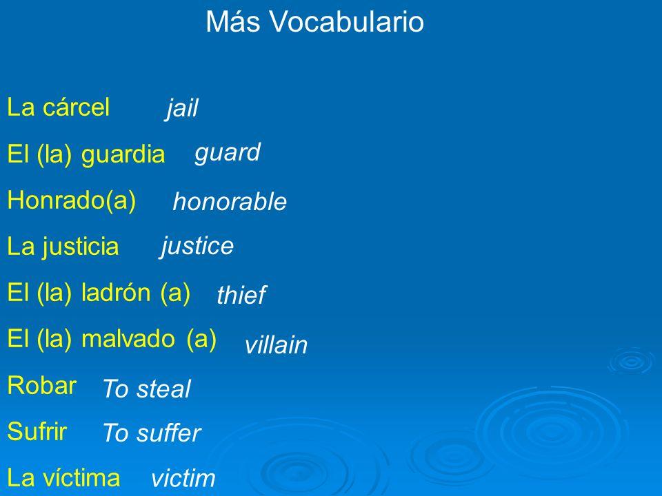 Más Vocabulario La cárcel jail El (la) guardia Honrado(a) guard