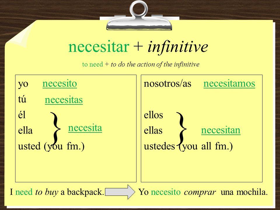necesitar + infinitive