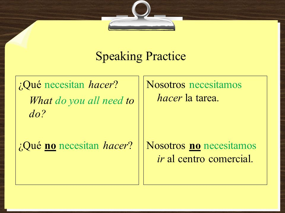 Speaking Practice ¿Qué necesitan hacer What do you all need to do ¿Qué no necesitan hacer