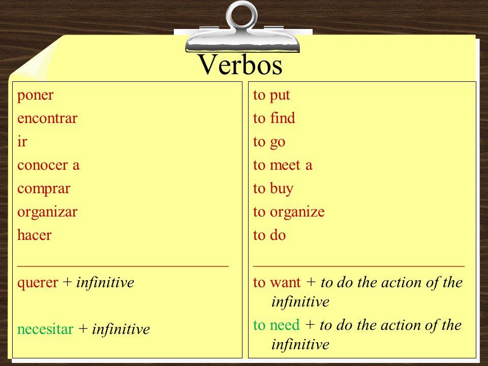 Verbos poner encontrar ir conocer a comprar organizar hacer __________________________ querer + infinitive necesitar + infinitive