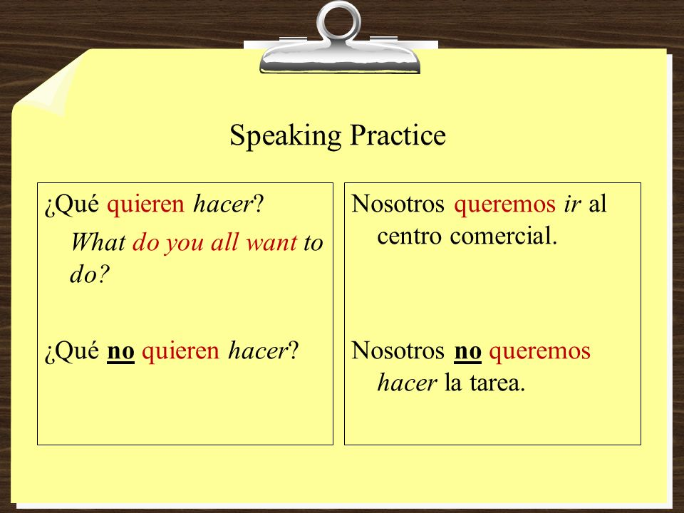 Speaking Practice ¿Qué quieren hacer What do you all want to do ¿Qué no quieren hacer