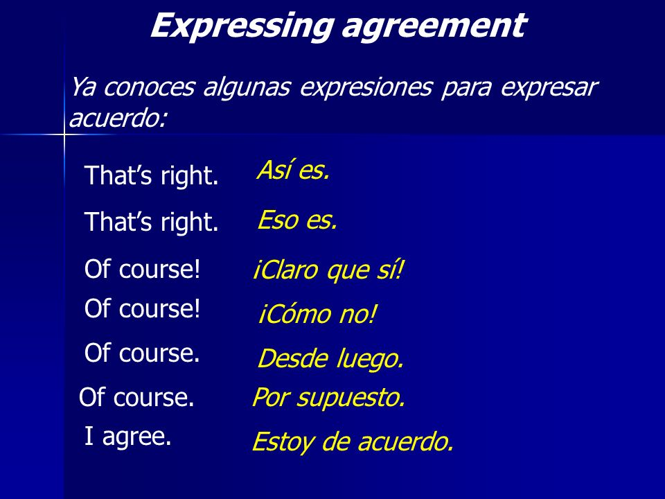 Expressing agreement Ya conoces algunas expresiones para expresar acuerdo: Así es. That's right. Of course!