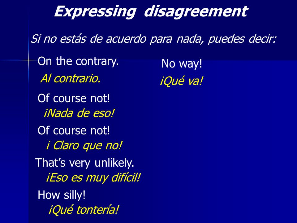Expressing disagreement