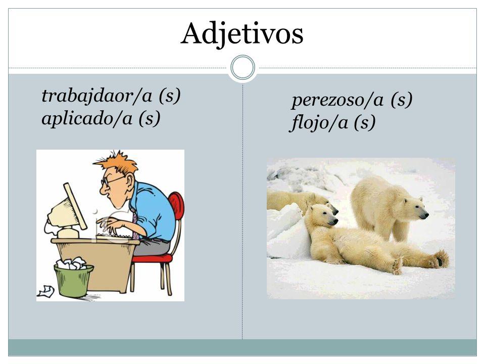 Adjetivos trabajdaor/a (s) aplicado/a (s) perezoso/a (s) flojo/a (s)