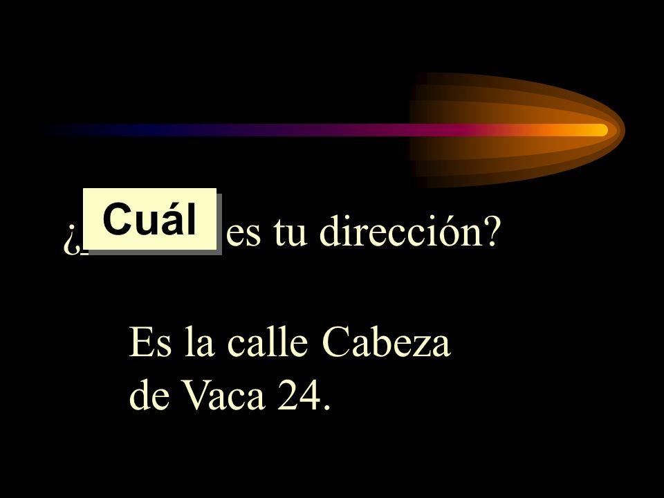 Cuál ¿______ es tu dirección Es la calle Cabeza de Vaca 24.