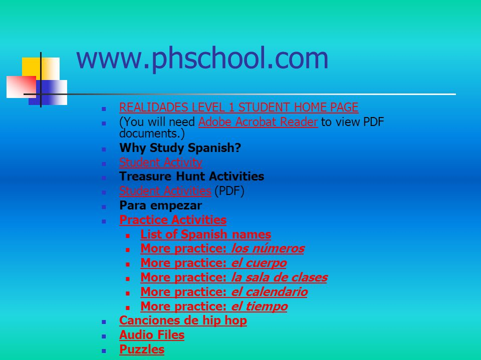 REALIDADES LEVEL 1 STUDENT HOME PAGE