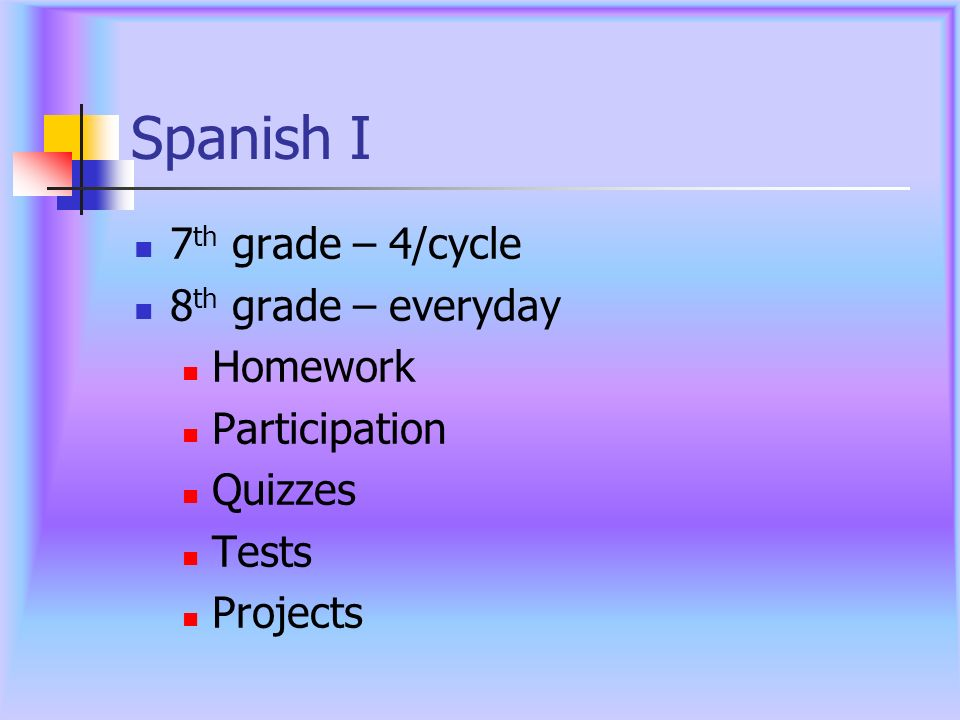 Spanish I 7th grade – 4/cycle 8th grade – everyday Homework