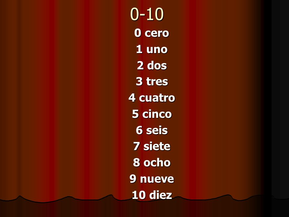 0-10 0 cero 1 uno 2 dos 3 tres 4 cuatro 5 cinco 6 seis 7 siete 8 ocho
