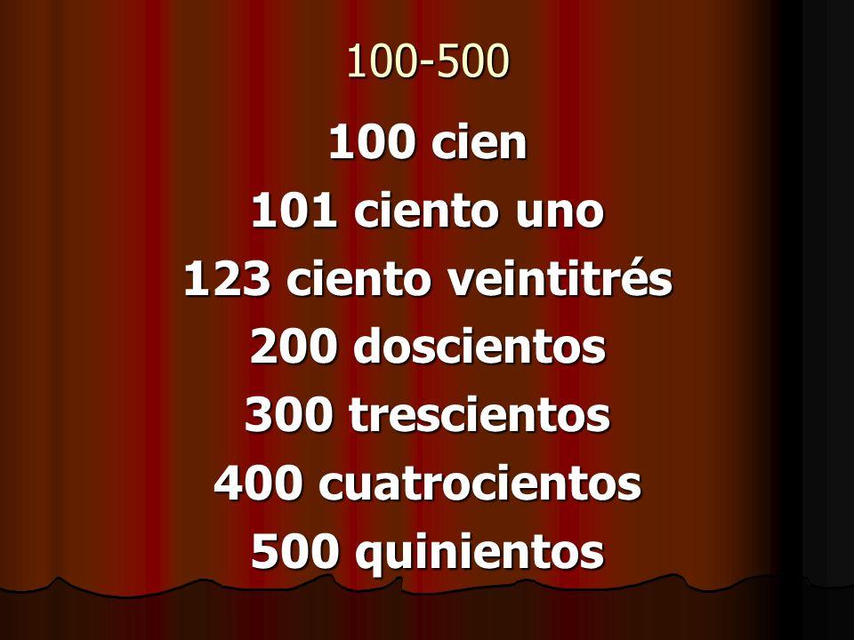 100 cien 101 ciento uno 123 ciento veintitrés 200 doscientos