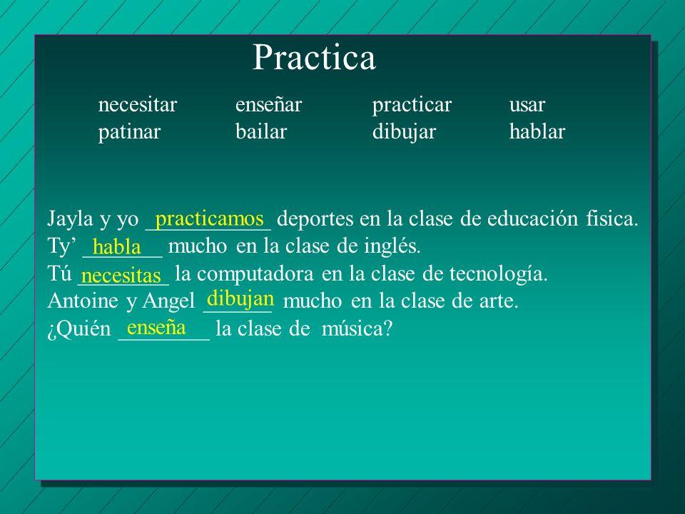 Practica necesitar enseñar practicar usar