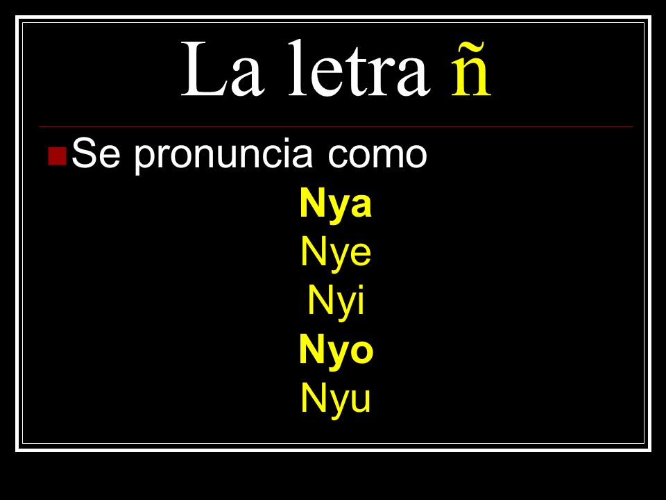 La letra ñ Se pronuncia como Nya Nye Nyi Nyo Nyu