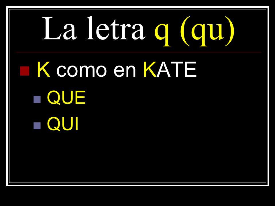 La letra q (qu) K como en KATE QUE QUI