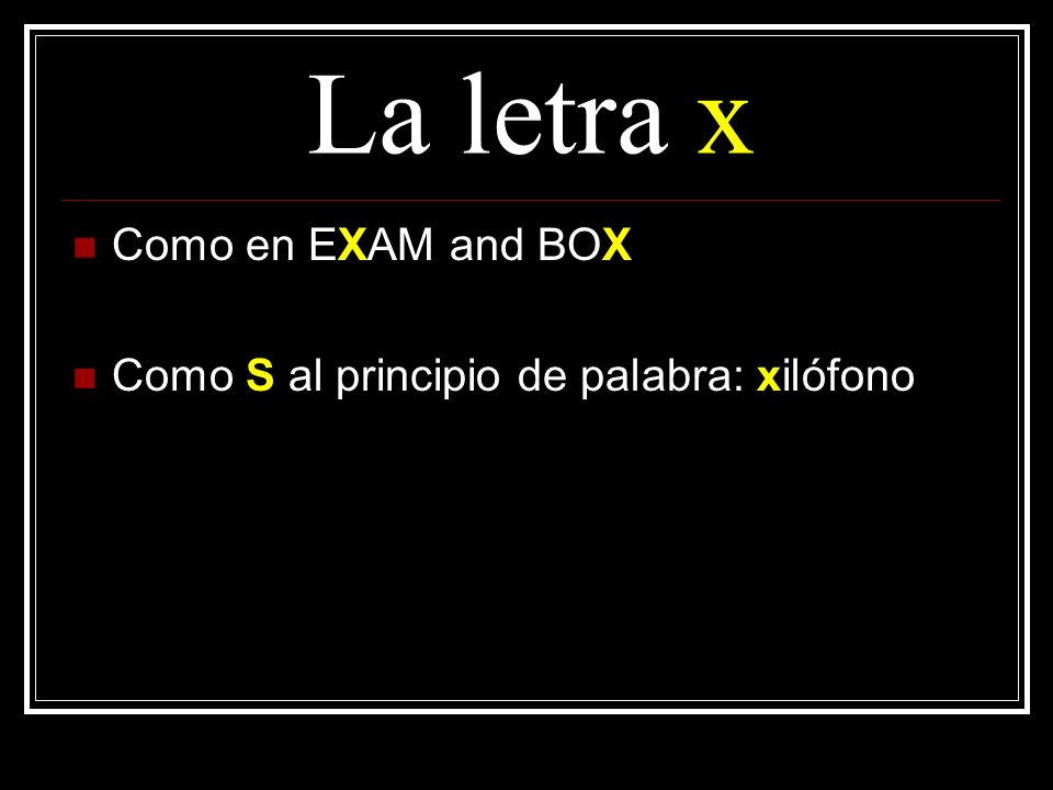La letra x Como en EXAM and BOX